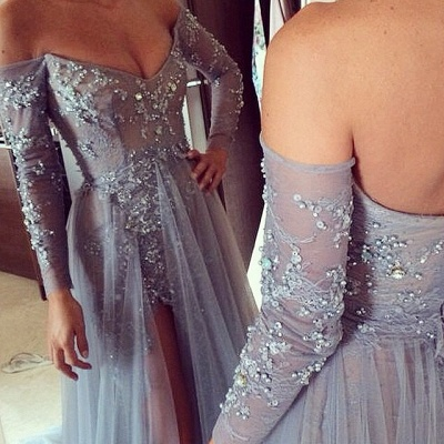 Sexy Side Split Prom Dresses Off-the-Shoulder Beading  Evening Gowns_2