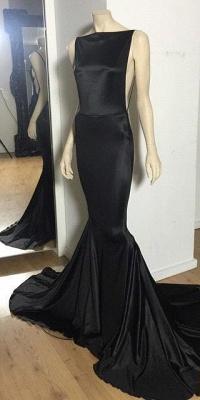 Open-Back Sexy Long Black Cheap Sexy Mermaid Court-Train Evening Dress_2