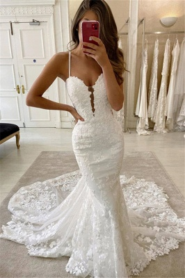 Amazing Spaghetti Strap Sweetheart Lace Mermaid Fitted Wedding Dresses_1