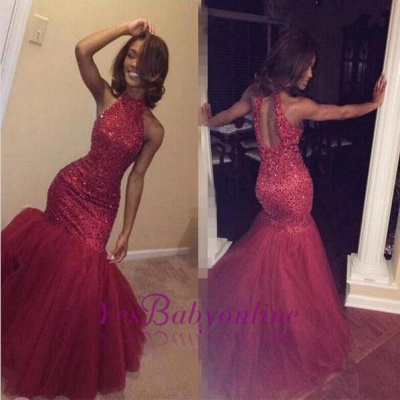 Sexy Sparkly Sleeveless Mermaid Sequined Halter Beading Open-Back Tulle Prom Dress_1