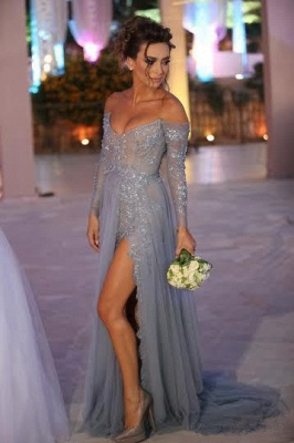 Sexy Side Split Prom Dresses Off-the-Shoulder Beading  Evening Gowns_1