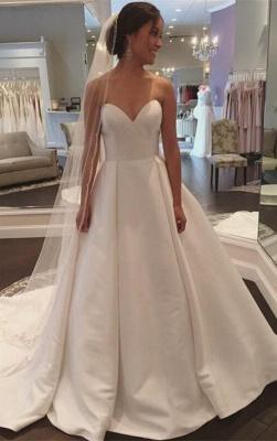Stunning Simple Sleeveless Sweetheart A-line White Sweep Train Wedding Dress_2