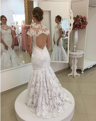 White Appliques Newest Lace Zipper High-Neck Pearls Mermaid Wedding Dress_4