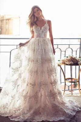Spaghettis-Straps Glamorous Sweetheart-Neck Backless A-line Lace Wedding Dresses_2
