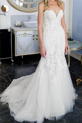 Tulle Form Fitting Sleeveless Lace Appliques Open-Back Front-Slit Sweetheart Wedding Dress_5