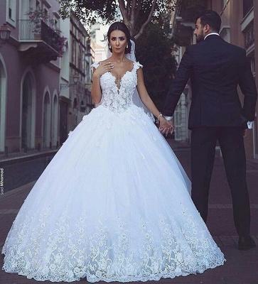 Glamorous V-Neck Sleeveless Appliques Tulle Ball Gown Wedding Dress_3