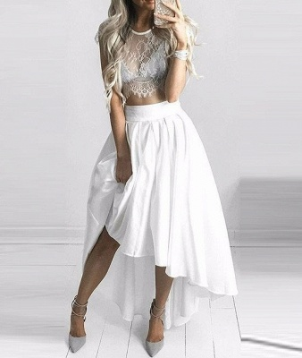 Hi-Lo Two-Piece White Lace Sexy Capped-Sleeves Prom Dresses_3