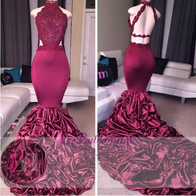 Lace Newest High-Neck Mermaid Open-Back Beadings Prom Dress_2