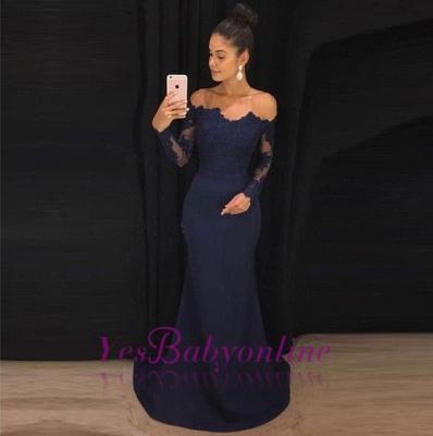 Long Sleeves Navy New Mermaid Blue Evening Dresses_1