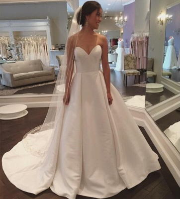 Stunning Simple Sleeveless Sweetheart A-line White Sweep Train Wedding Dress_3
