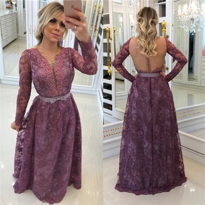Buttons Glamorous A-Line Lace Long-Sleeves Evening Dresses_3