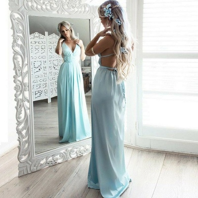 Chic V-Neck Straps Evening Dresses | A-Line Lace-up Prom Dresses_3