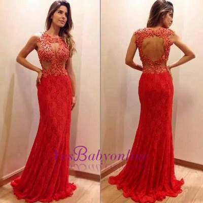 Sexy Mermaid Sleeveless Lace Appliques-Appliques Newest Sweep-Train Prom Dress_1