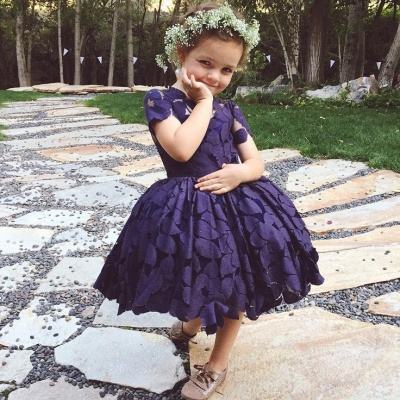 Short-Sleeve Jewel Newest Lace Knee-Length Flower-Girl Dress_3