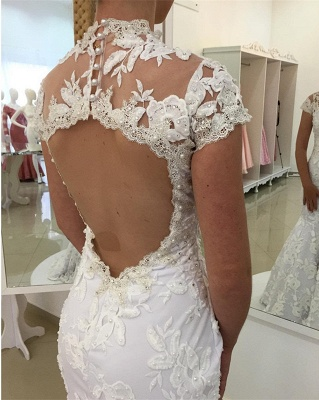 White Appliques Newest Lace Zipper High-Neck Pearls Mermaid Wedding Dress_3