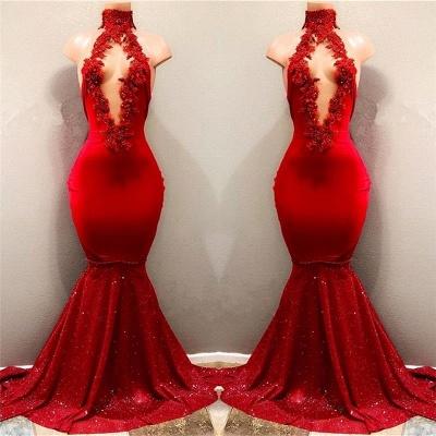 High Neckline Sleeveless Evening Dresses   Red Long Mermaid Prom Dresses_3