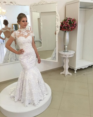 White Appliques Newest Lace Zipper High-Neck Pearls Mermaid Wedding Dress_2