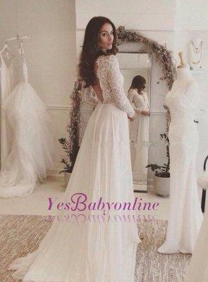 Chiffon V-neck Long Sleevess Sexy Lace Wedding Dress_1