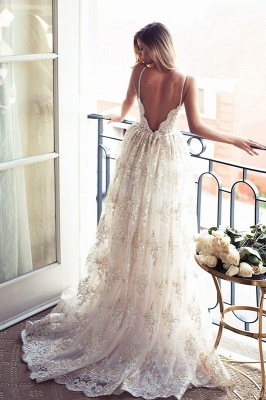 Spaghettis-Straps Glamorous Sweetheart-Neck Backless A-line Lace Wedding Dresses_3