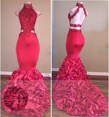 Lace Newest High-Neck Mermaid Open-Back Beadings Prom Dress_1