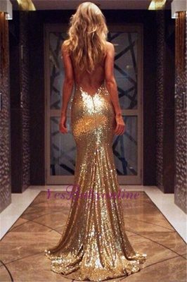 Sexy Gold  Prom Dress Sleeveless Sequins V-Neck Mermaid Backless Evening Gowns_1