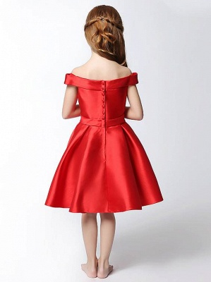 Cute A-Line Matte Satin Off-The-Shoulder Knee-Length Flower Girl Dress with Bowknot_3