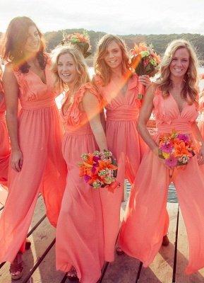 Elegant Simple A-line V-neck Sleeveless Chic Chiffon Ruffles Bridesmaid Dress_2