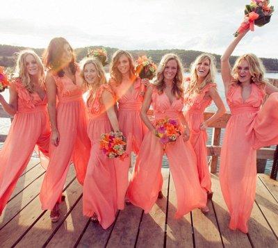 Elegant Simple A-line V-neck Sleeveless Chic Chiffon Ruffles Bridesmaid Dress_3