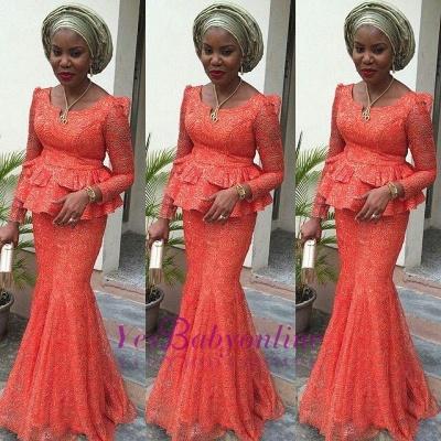Lace Nigerian Long-Sleeves Floor-length Mermaid Evening Dress_1