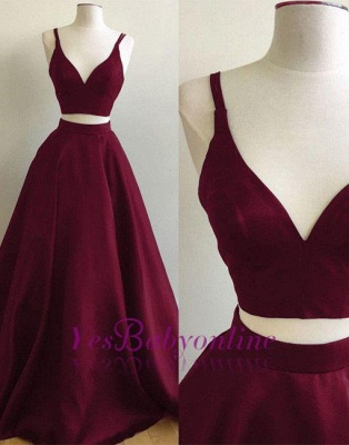Burgundy Two-Piece Prom Dresses Straps Sleeveless Puffy A-line Evening Gowns_1