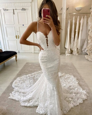 Amazing Spaghetti Strap Sweetheart Lace Mermaid Fitted Wedding Dresses_2