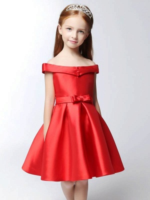 Cute A-Line Matte Satin Off-The-Shoulder Knee-Length Flower Girl Dress with Bowknot_1
