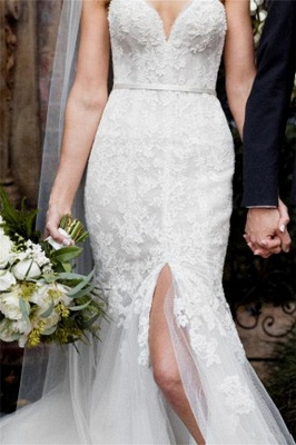 Tulle Form Fitting Sleeveless Lace Appliques Open-Back Front-Slit Sweetheart Wedding Dress_3