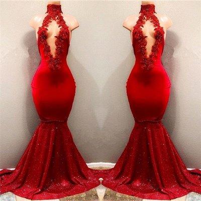 High Neckline Sleeveless Evening Dresses | Red Long Mermaid Prom Dresses_3