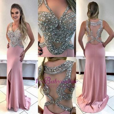 Crystal Glamorous Sleeveless Split Prom Dress_1