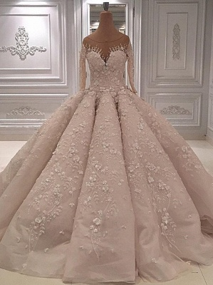 Scoop Luxury Appliques Ball Gown Wedding Dresses with Long Sleeves_1