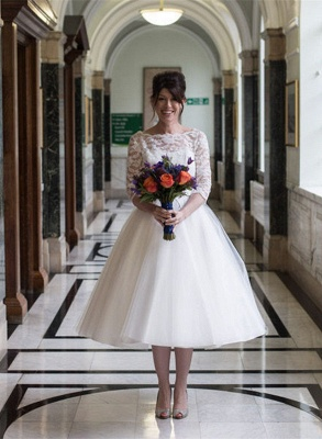 Charming Lace Designer Tulle Tea-Length Wedding Dress_2