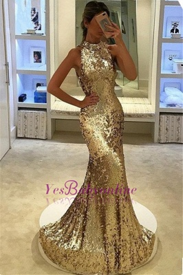 Elegant Sequins Mermaid Prom Dresses | High Neck Gold Evening Gowns_1
