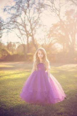 Cheap Tulle Floor Length Purple Strapless Flower Girl Dresses_3
