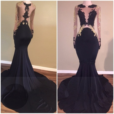 2019 Black Mermaid Prom Dresses Long Sleeves Sheer Gold Lace Appliques Sheer Sexy Evening Gowns_3