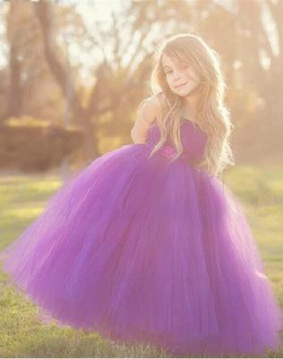 Cheap Tulle Floor Length Purple Strapless Flower Girl Dresses_2