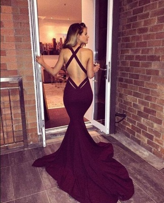 2019 Burgundy Mermaid Prom Dresses Halter V-Neck Maroon Long Evening Gowns_3