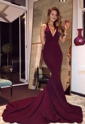 2019 Burgundy Mermaid Prom Dresses Halter V-Neck Maroon Long Evening Gowns_2