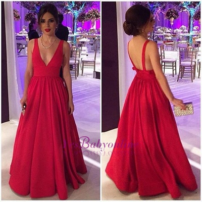 Cheap Open-Back Long Red Elegant New Sleeveless V-neck Evening Dresses_1