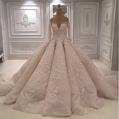 Scoop Luxury Appliques Ball Gown Wedding Dresses with Long Sleeves_2