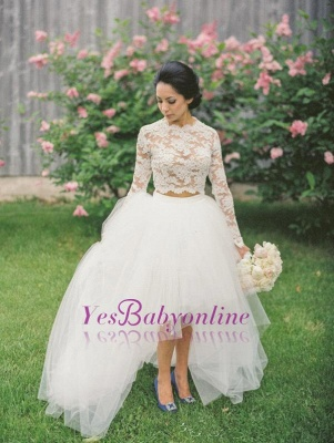 Piece Long Stunning Two Tulle Lace Appliques Sleeve Hi-Lo Wedding Dress_1