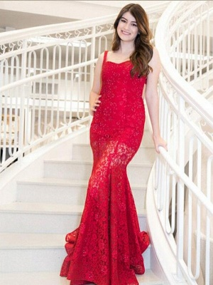 Mermaid Red Lace Straps Sequins Sweep Train Prom Dress | Evening Dress_1