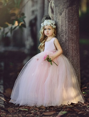 Flower Ball-Gown Pink Long Cute Girl Dresses_2