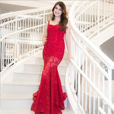 Mermaid Red Lace Straps Sequins Sweep Train Prom Dress | Evening Dress_3