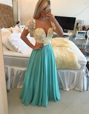 Lace Pearls  Modest A-line Short-Sleeve Prom Dress_2